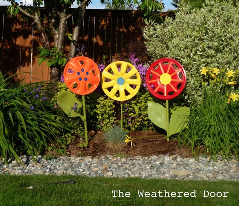 Blooming Hubcaps Garden Art