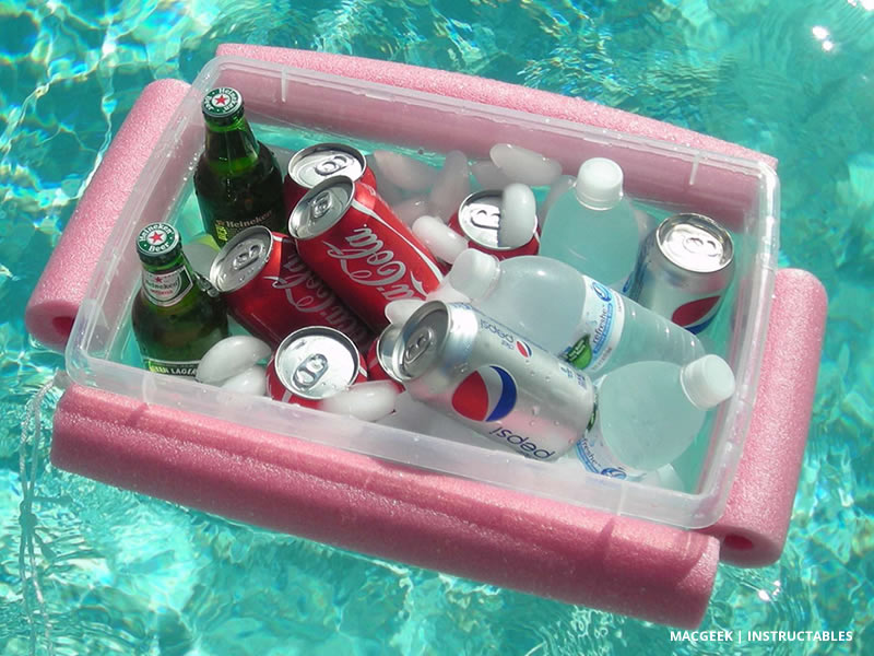 The $2 Pool Noodle Floating Cooler