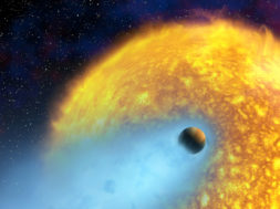 Astronomers using the Hubble Space Telescope have made the first direct detection of the atmosphere of a planet orbiting a star outside our solar system. Their unique observations demonstrate that it is possible with Hubble and other telescopes to measure