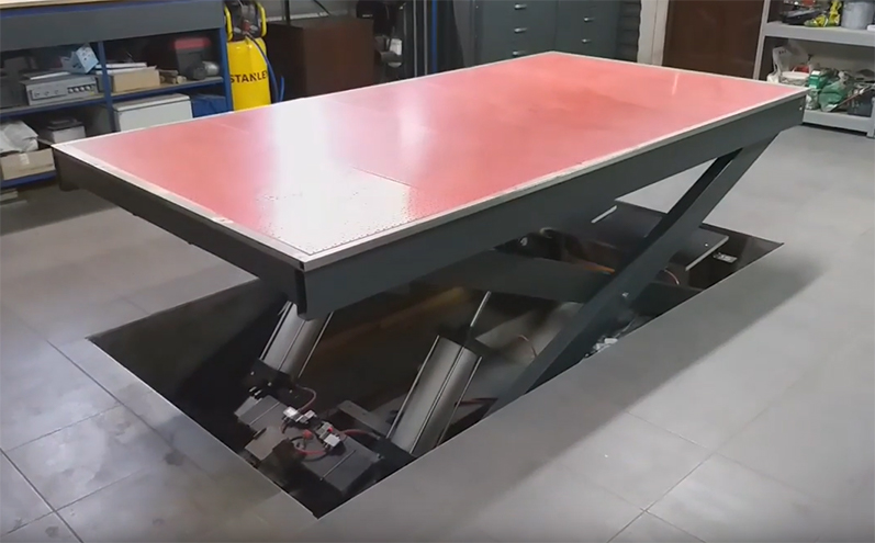 In-Ground Scissor Lift Workbench